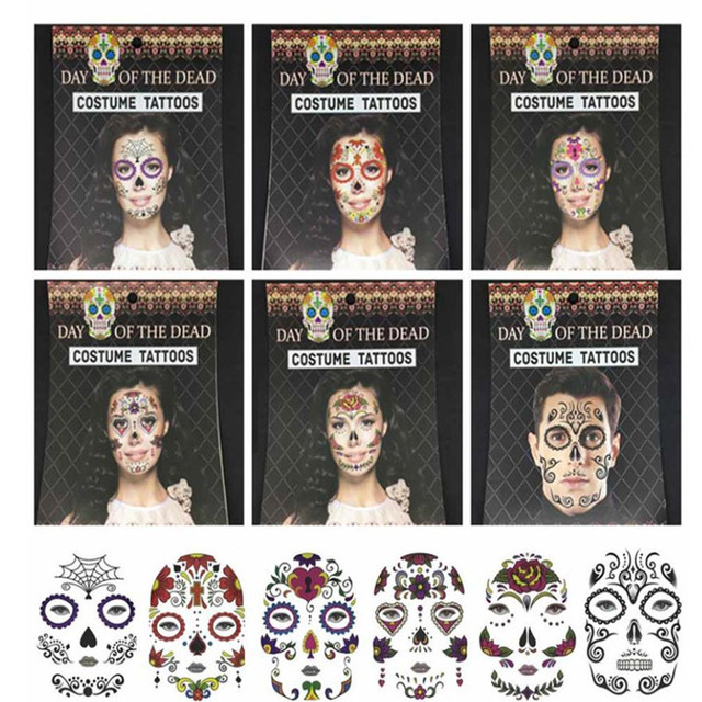 Day Of The Dead Temporary Tattoo Costume Ball Prop Art Makeup Tattoo