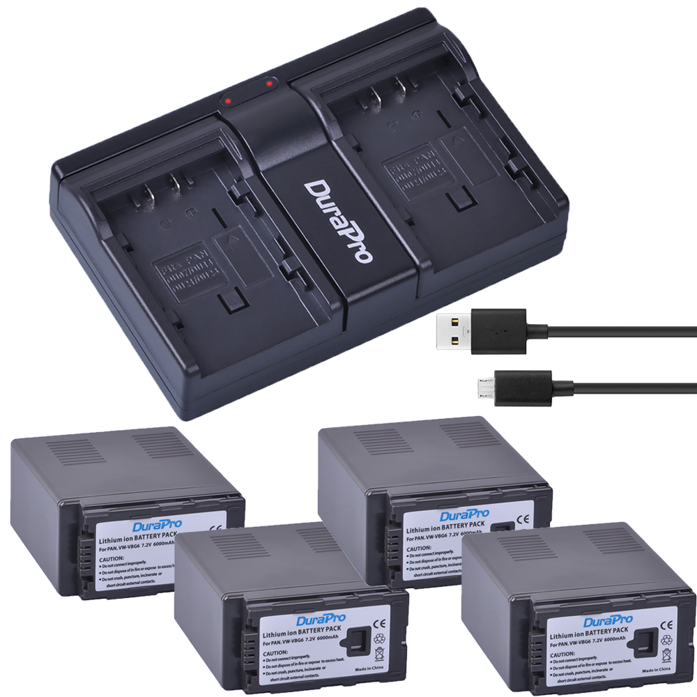 4x 6000Ah VW-VBG6 VW VBG6 Camera Battery + USB Dual Charger for PANASONIC AG-HMC71 HMC73 HMC150 HPX250 AC160MC AG-HMC155GK replacement vbg260 7 4v 2460mah battery pack for panasonic ag hmc150 hdc dx1 more