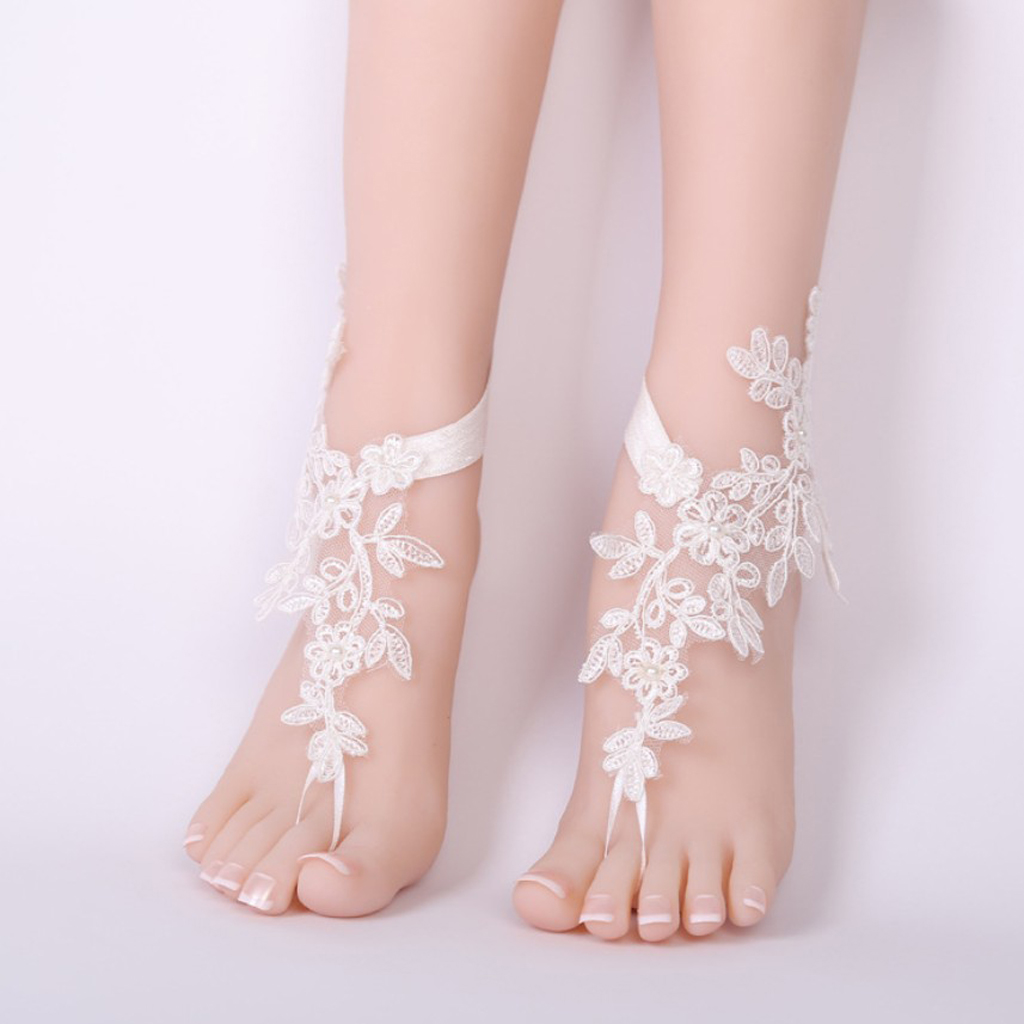 c75fd5584d40 Luxury White Lace Woman Bridal Anklets Wedding Barefoot Sandals Shoes Beach  Foot Chain Accessories-in Anklets from Jewelry   Accessories on  Aliexpress.com ...