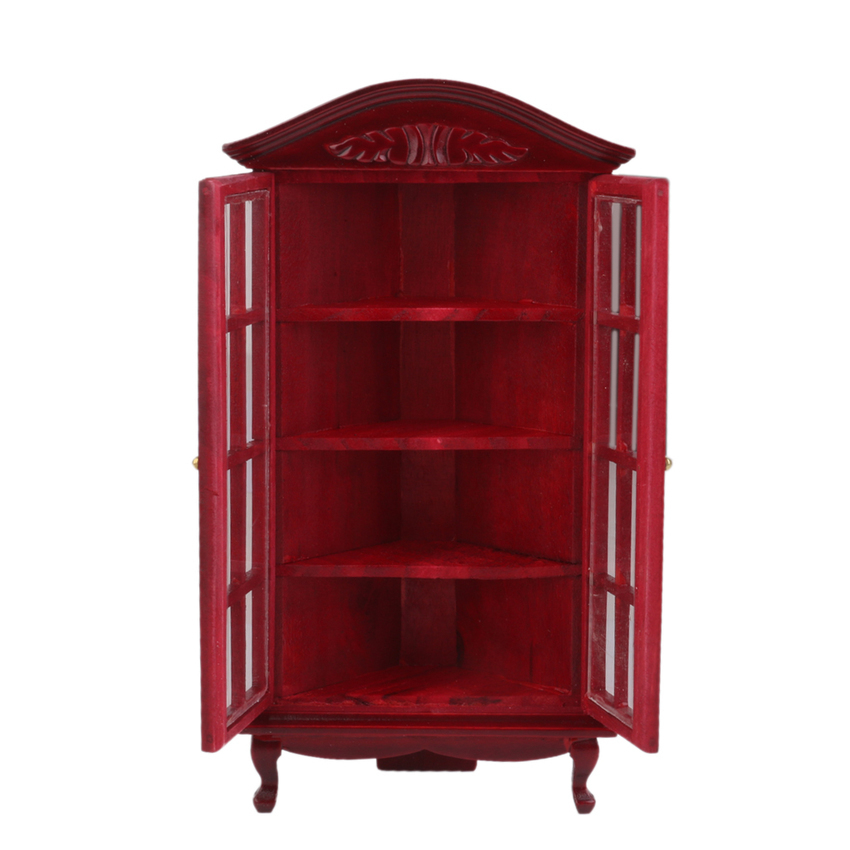 OMoToys Noble Design 1/12 Dollhouse Miniatures Furniture Corner Cabinet For House Decor Burgundy
