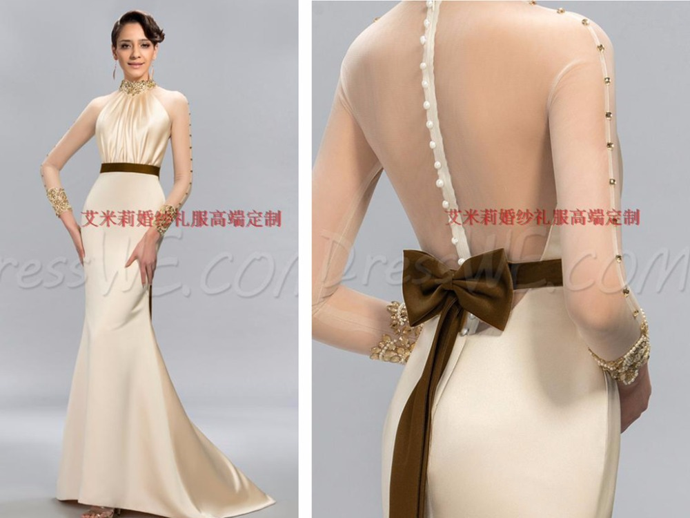 Beading Vestido De Festa 2018 High Neck Long Sleeve Button Bow Evening Prom Gown Robe De Soiree Mother Of The Bride Dresses