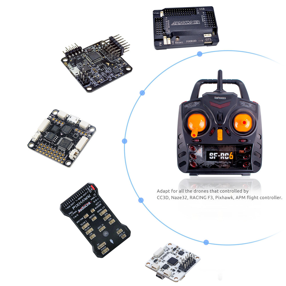 Sunfounder 24g 6channels Radio Remote Controller Transmitter And Control Helicopter Circuit Receiver Kit For Rc Racing Drone Quadcopter In Parts Accessories From Toys