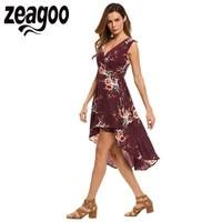 Zeagoo Women Dress V Neck Sleeveless Floral Print High Low Hem Wrap High Waist Asymmetrical Dress