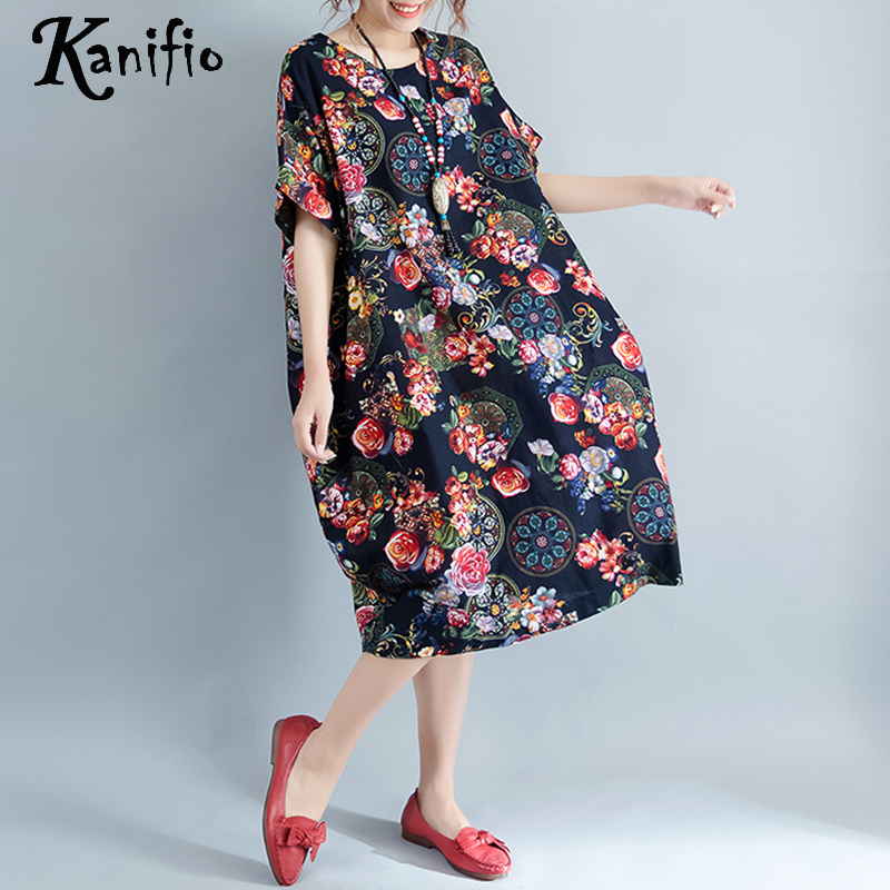 3cb3f3008f6 Kanifio Brand Apparel Fashion Print Cotton Linen Summer Dress Plus Size  Women Dresses Casual Oversized Long Shirt Tunic Vestidos