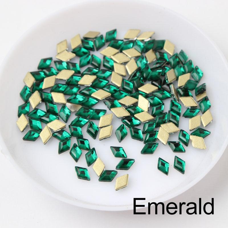 30/100 шт./лот ногтей Стразы 3x5 мм Flatback ромб с цветными камнями для 3D нейл-арта украшения - Цвет: Emerald