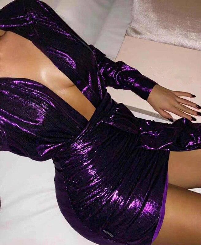 À Longues Bandage V 2 Cocktail Nouvelle 2019 Col Party Femmes Deux Manches Violet Pièces Moulante Robe Robes Discothèque Celebrity 10xdYq1wz