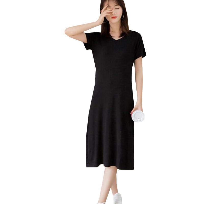 Modal Dress 2017 New Summer Women Elegant Short Sleeve Dresses Sexy V Neck Long Slim Dress Casual Solid Robe Vestidos AB207