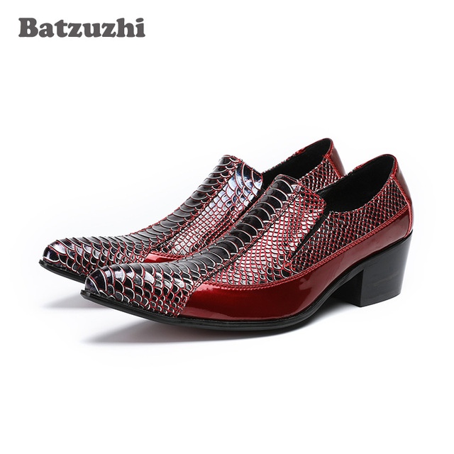 7452e4d459f Batzuzhi Luxury Italian Men Leather Shoes Zapatos Hombre Pointed Toe Wine  Red Leather Wedding Men Shoes 6.5cm High Heels, US12 -in Formal Shoes from  ...