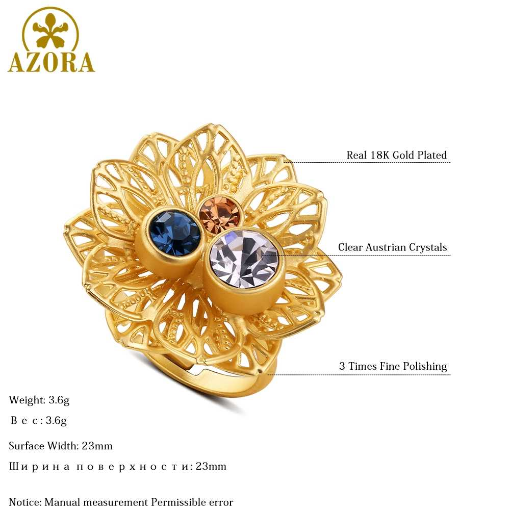 AZORA Multicolor ดอกไม้คริสตัลออสเตรียปรับขนาดแหวนผู้หญิงขายส่งแฟชั่นเครื่องประดับงานแต่งงานอุปกรณ์เสริม TR0224