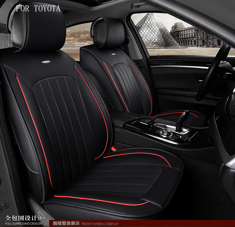 for toyota corolla avensis camry rav4 small hole ventilate wear resistance PU leather Front&Rear full car seat cover four season special car trunk mats for toyota all models corolla camry rav4 auris prius yalis avensis 2014 accessories car styling auto
