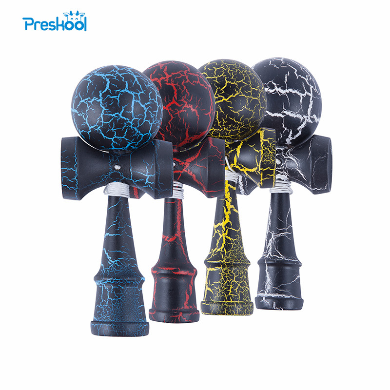 Attractive Kendama 18.5 Cm 4 Pcs Funny Japanese Traditional Wood Toy Kendamas Ball Colorful PU Paint Wooden Toys