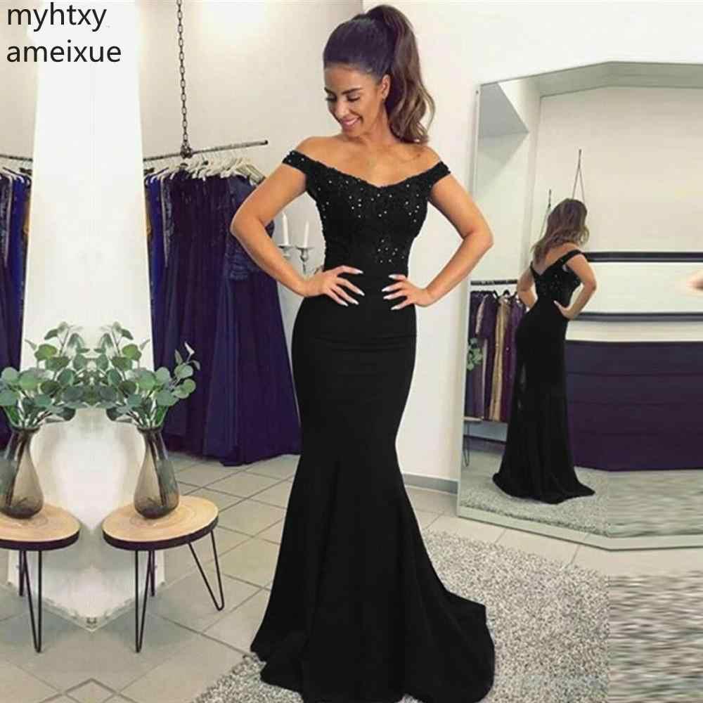2019 חדש אשליה שחור כבוי כתף תחרה בת ים שיק ערב שמלות המפלגה ארוך נשף שמלת פורמליות שמלת חלוק דה Soiree לונג