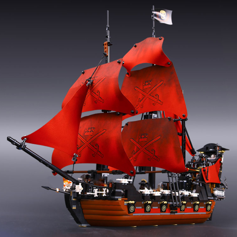 Lepin 16009 Queen Anne's Revenge Pirates of the Caribbean Educational Building Blocks Set Compatible with Model LegoINGys 4195 lepin 16009 caribbean blackbeard queen anne s revenge mini bricks set sale pirates of the building blocks toys for kids gift