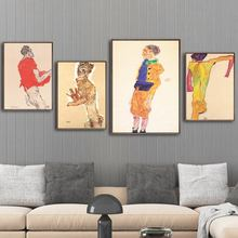 Home Decoration Painting Canvas Pictures Wall Art HD Prints Austrian Egon Schiele Nordic Creative Poster Modular For Living Room цена