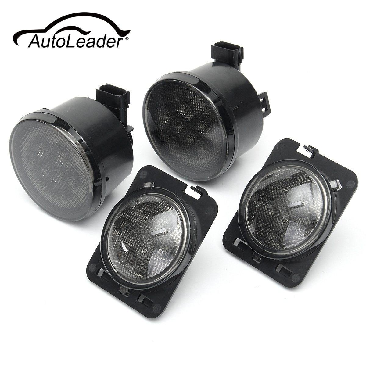 AutoLeader 1Set Smoke Lens 8 LED Front Turn Signal And Fender/ Side Marker Parking Light For Jeep JK 2007-2016 12V DC 4W