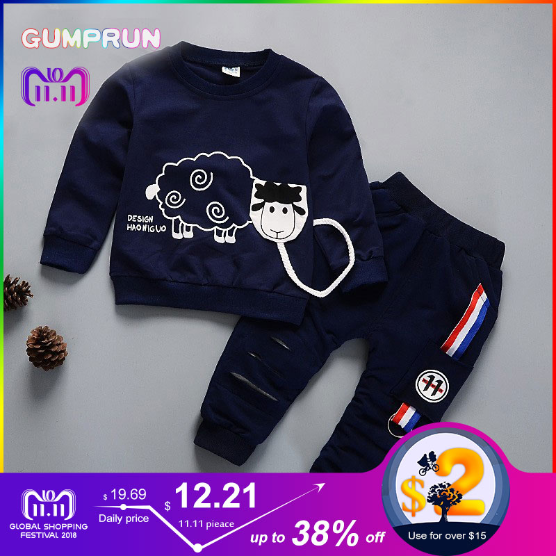 Kids Winter Clothes Cute Sheep Printed boy's clothing Warm long sleeve Children Clothing set Girl Winter Clothes For Kids children clothing sets 2017 girl winter clothes long sleeve plus velvet cartoon badminton printed hoodies solid collapse pants