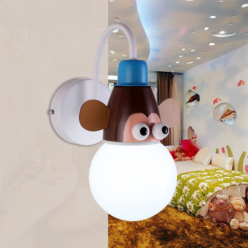 Dessin animé singe girafe zèbre mur LED lampes Edison ampoule E27 titulaire enfants bébé enfants chevet lumières chambre applique