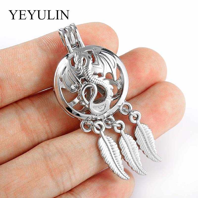 Silver Color Dragon Shape Locket Pearl Cage Pendant For DIY Charms Necklace/Bracelet Aroma Essential Oil Diffuser Trendy Jewelry