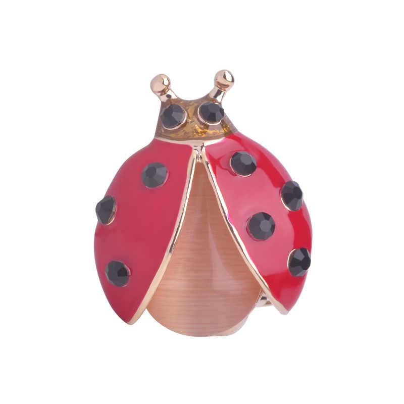 Piccolo Taglio Rosso Coccinella Spille Corpetto Occhio di Gatto Opale Donne Brooch Dello Smalto Degli Uomini Del Vestito Risvolto Spilli Oro-Insetto di colore spilla