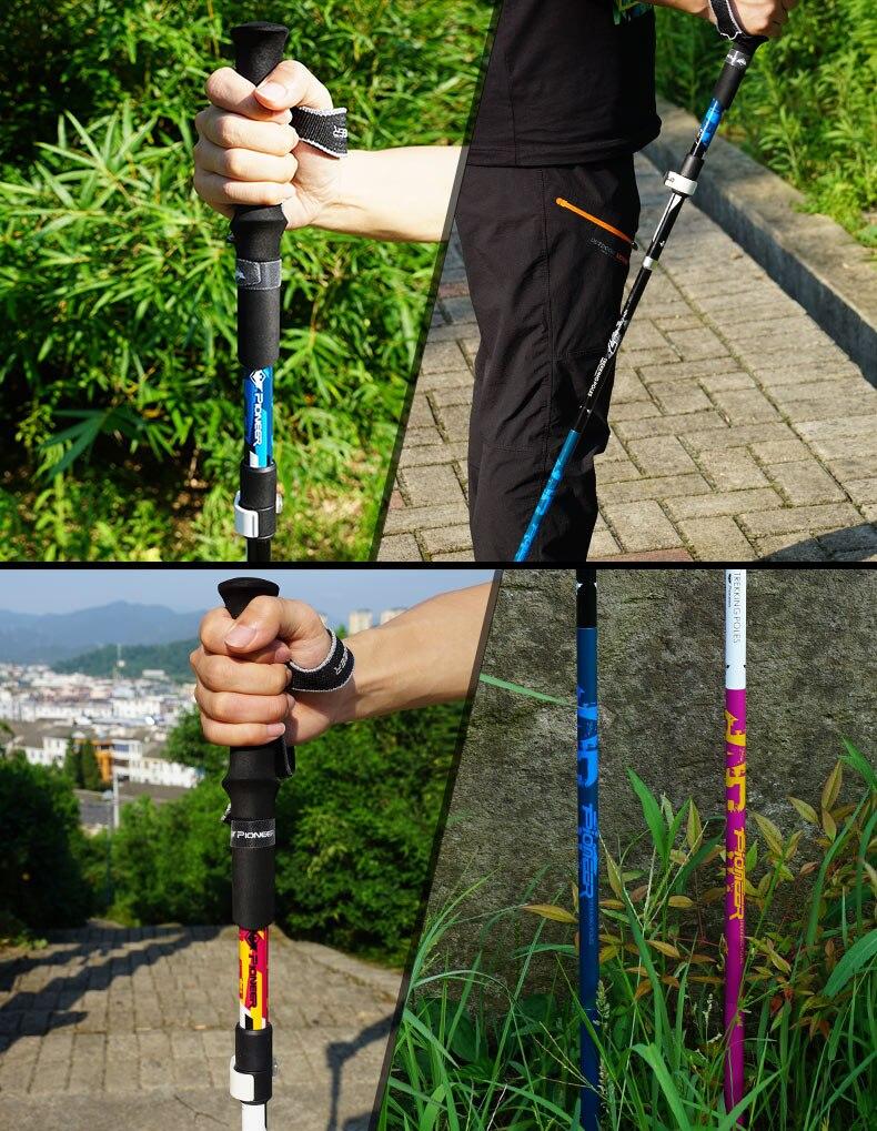 2 pçs fibra de carbono dobrável caminhadas