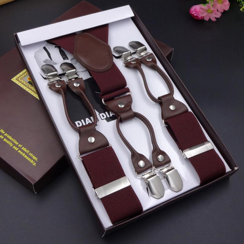 Leather& elastic woven tape alloy 6 clips male vintage casual suspenders commercial western-style trousers man's braces strap