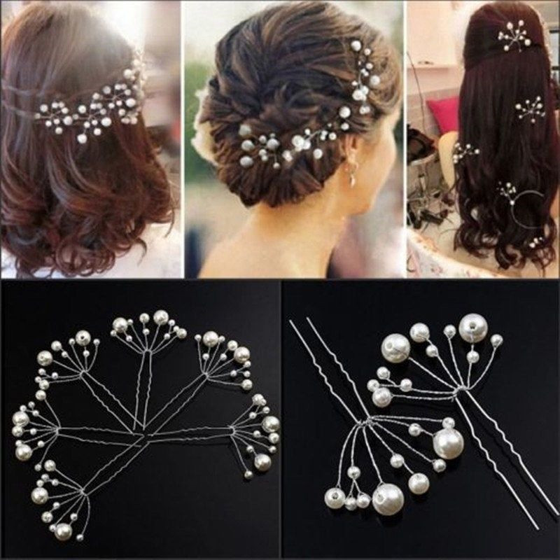 5pcs Fashion New Wedding Bridal Bridesmaid Pearls Hair Pins Clips Comb (Size: 9.5cm By 5.5cm, Color: White)