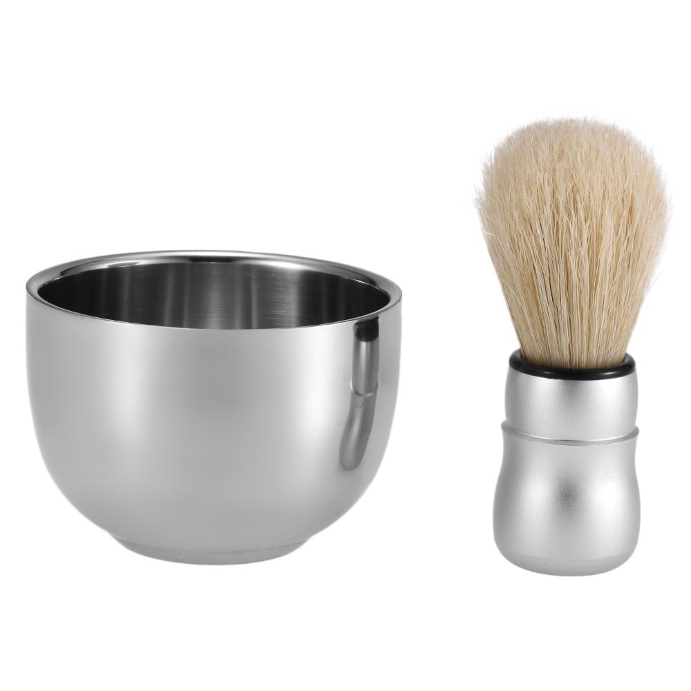 3 in 1 Men's Shaving Brush Tool Set Well Polished Badger Hair Shaving Brush Soap Bowl Stand Holder Face Cleaning Shaver Tool 2