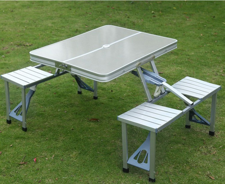 Multi-functional Outdoor Fishing Aluminum Alloy Conjoined Folding Tables and Chairs Drive Barbecue Table Show The Table