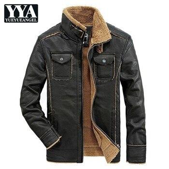 Men Winter Leather Jackets New Thick Warm Motorcycle Long Sleeve Biker Jacket Fashion Men's Stand Collar Windbreaker Coat