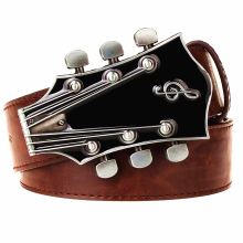 Men's Retro Guitar Buckle Fashion PU Belt