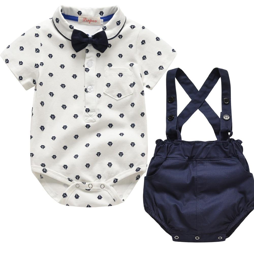 Newborn baby boy clothes Set Cotton infantil Rompers + Strap Shorts summer England style Suit 3-24M Childrens vestido clothing