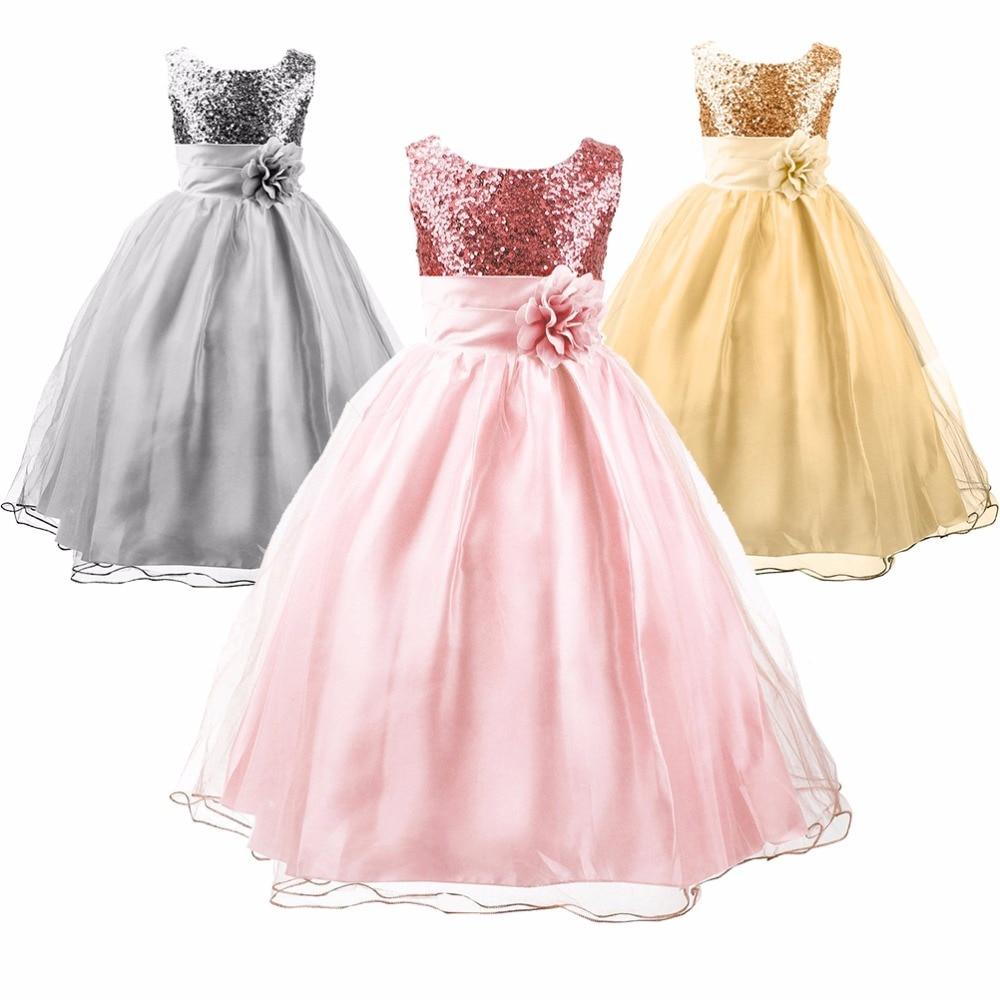 Girls 39 sequin satin tulle elegant flowers dress wedding for Baby dresses for weddings