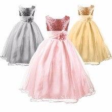 Filles Sequin Satin Tulle Fleurs Élégantes Robe De Mariage Partie Bébé Fille Vêtements Princesse Pageant Robes Pour Enfants Infantile Costume