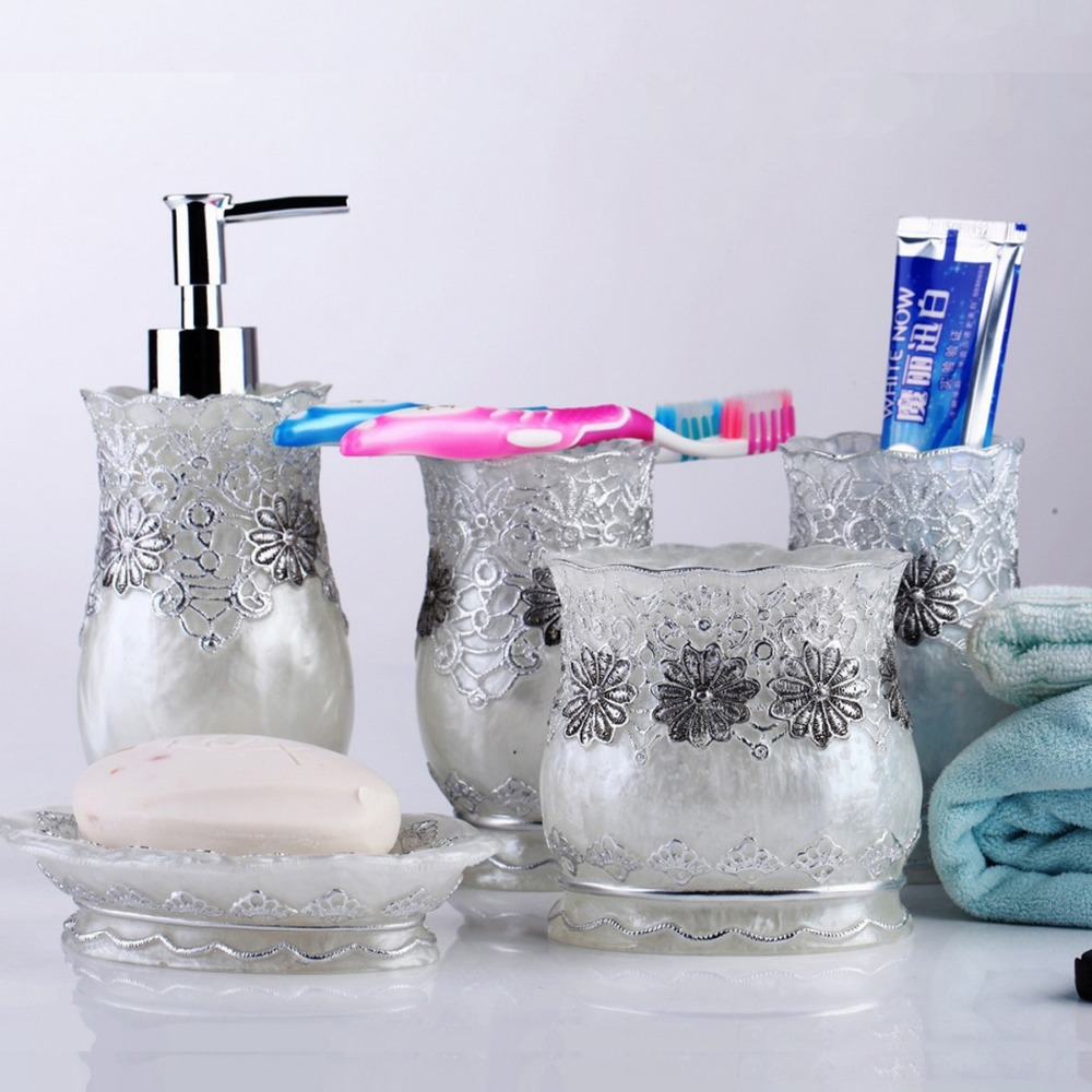 Cloc France Royal Fl Lace Bathroom Accessories Accessory Sets Soap Dish Toothbrush Holder Wash Cup Bath Organizer Box In