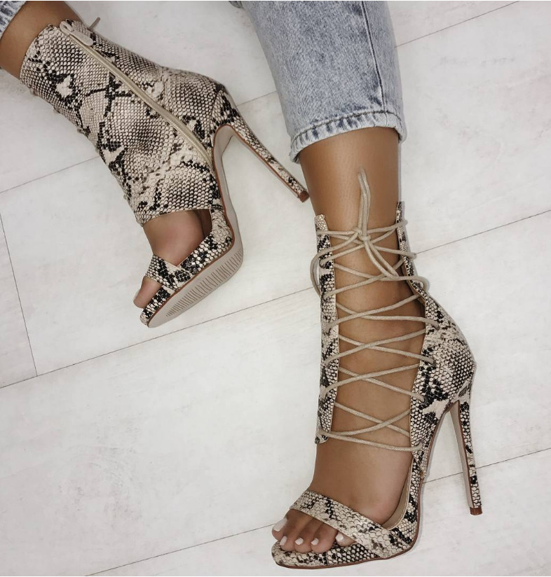 Autumn Heel Crossing Bandage Hollow Snakes Sexy Boots High Quality Women Pump Sandal Party Shoes