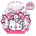 Новые дети куртки для девочек cute hello kitty с длинным рукавом молнии весна осень верхняя одежда девочка розовый зима Клубника пальто