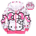 New children jackets for girls cute hello kitty long sleeve zipper spring autumn outwear baby girl pink winter Strawberry coat