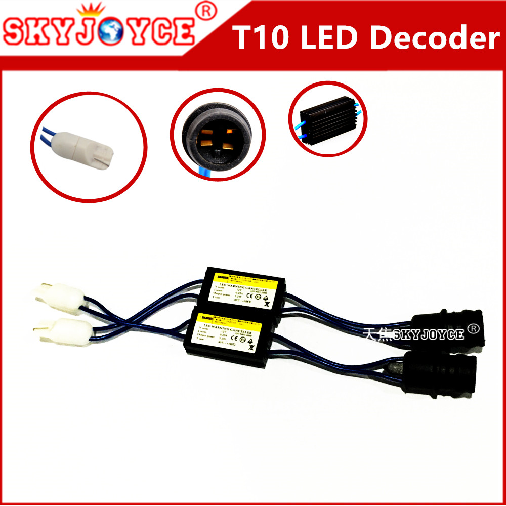 2pcs 12V decoder LED Warning Canceller led Decoder T10 W5W NO error OCB Load Resistor canbus canceller t10 canbus led accessory c3 5 can bus hid warning canceller capacitor decoder black 2 piece