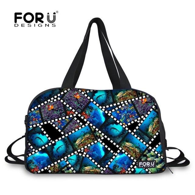 Women 3D Shark Dolphin Fish Print Travel Duffle Bag Design Female Luggage  Handbags Blue Color Mochila Large Capacity Weekend Bag