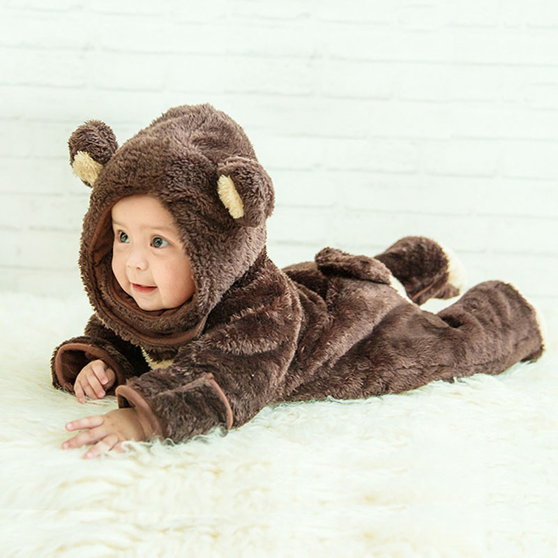 Infant Baby Flannel Long Sleeve Hooded Footies Rompers Clothes Newborn Baby Girl Boy Cute Cartoon Animal Jumpsuit Onesie Costume 2017 lovely newborn baby rompers infant bebes boys girls short sleeve printed baby clothes hooded jumpsuit costume outfit 0 18m