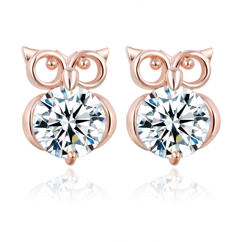Us 1 4 40 Off 17km Fashion Crystal Owl Stud Earrings For Women Cute Animal Gold Silver Color Earring Statement Las Party Jewelry Gifts In