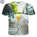 Mr.1991 11-20 Años los niños de la camiseta de las muchachas de la marca de moda divertida Simulación cremallera 3D impreso camisetas de los niños niñas tops DT12