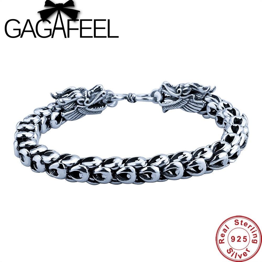 GAGAFEEL Bracelet pour hommes Sterling-argent-bijoux réel 925 Thai argent Cool lien Dragon échelle chaîne 19-22 CM S fermoir cadeaux