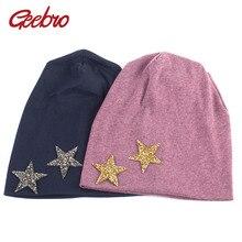 Geebro marca estrella de las mujeres Beanie Hat otoño Casual algodón  caliente Slouchy gorros para las b6c21e775b0