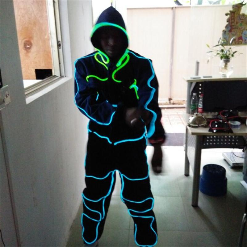 New design hot sale EL wire glowing flashing costumes with helmet ...