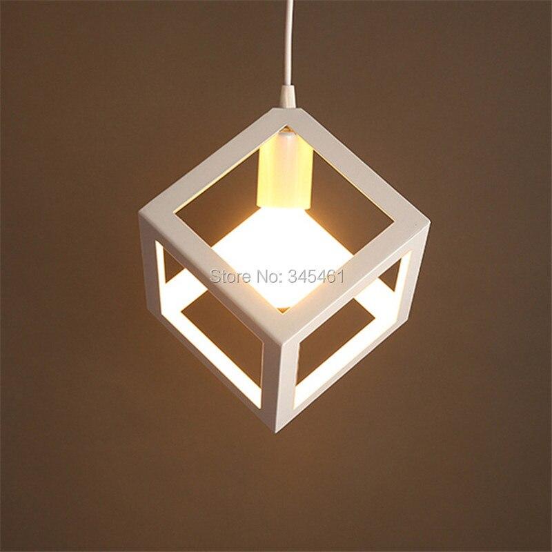 ФОТО New Arrival Lampada Cube Lampcover Metal Kitchen Pendant Light Black/White American Style Dinning Room Dia17cm Pendant Lamps