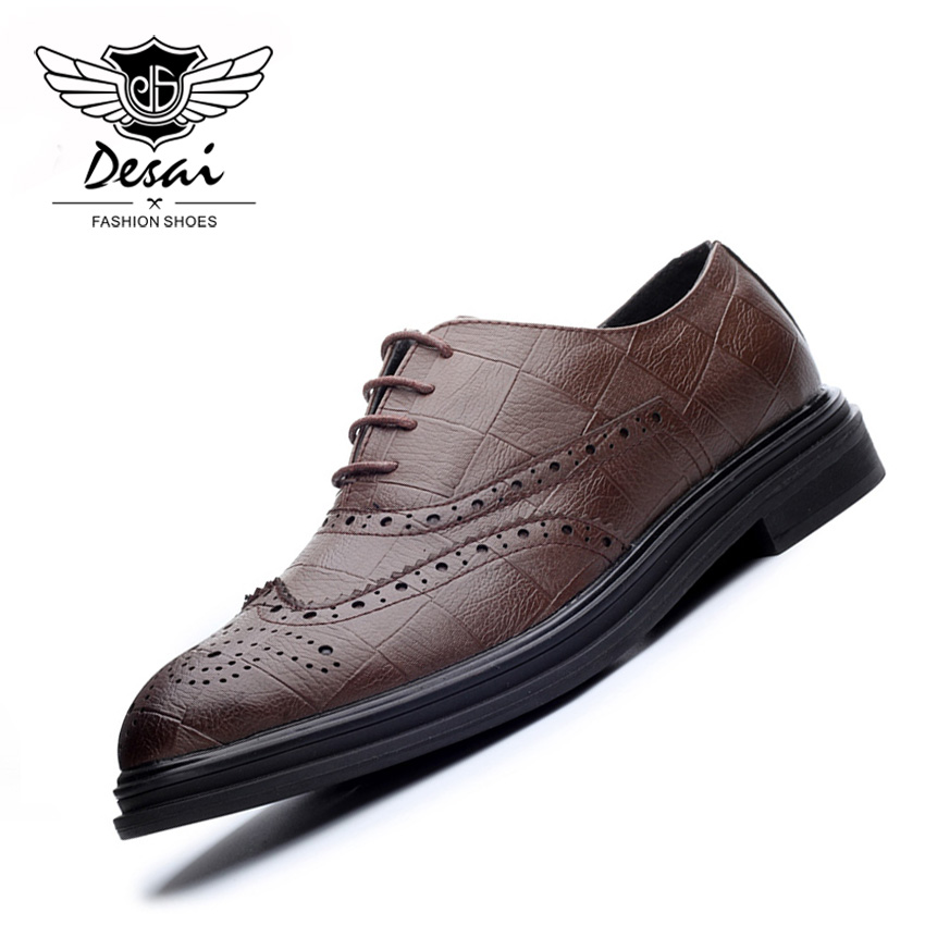 Bout 2018 Pointu brown Résistant L'usure Respirant Chaussures Cuir Lacent En Black Hommes Desai Confortable À Casual Appartements xeodBrCW