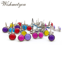 WISHMETYOU 50pcs 12.5mm Metal Brads Decor Photo Album Diy Scrapbooking Embellishments Crafts Candy Color Acrylic New