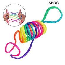 1/2/5Pcs Rainbow Rope Kid's Toys Finger Rope Game Thread Toy Puzzle Creates Various Figures Board Game Team Interaction Game 4 connect 4 classic grid board game toy