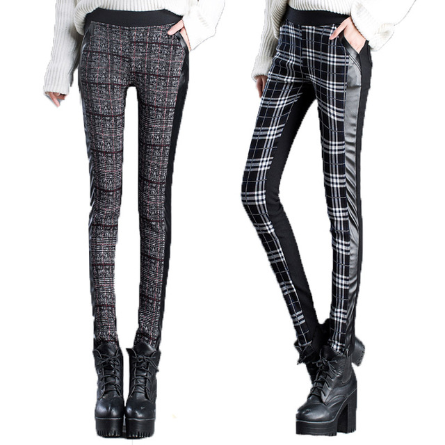 2016 Winter Pants Women Warm Leggings Sexy High Waisted PU Stretchy Trousers Casual Vintage Plaid Skinny Velvet Pant Femme S~XXL